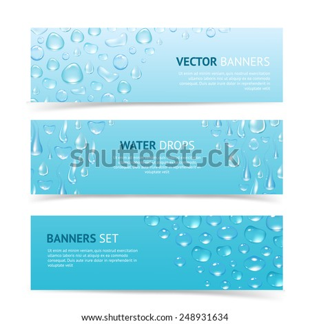 Water drops cool aqua shiny dew banners set isolated vector illustration - stock vector