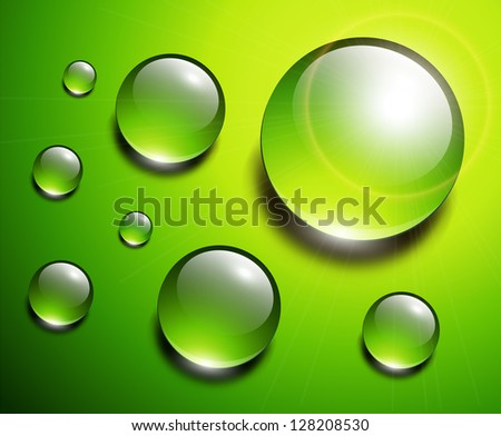 Water drops green, vector background. - stock vector