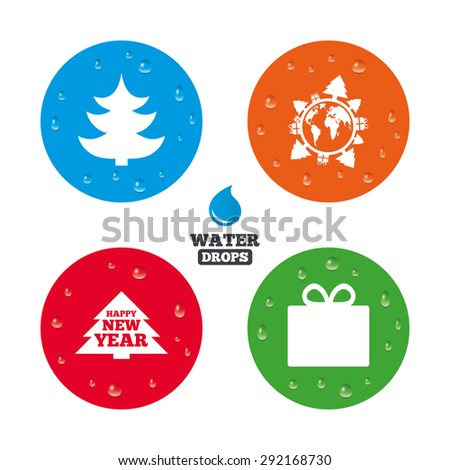 Water drops on button. Happy new year icon. Christmas trees and gift box signs. World globe symbol. Realistic pure raindrops on circles. Vector - stock vector