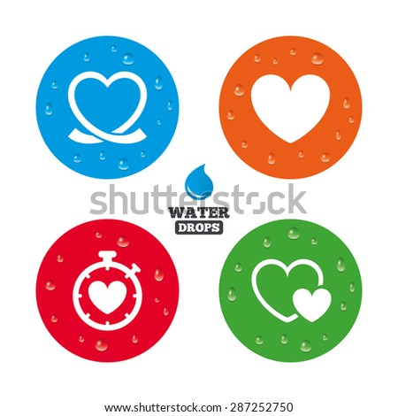 Water drops on button. Heart ribbon icon. Timer stopwatch symbol. Love and Heartbeat palpitation signs. Realistic pure raindrops on circles. Vector - stock vector