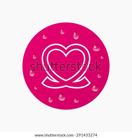 Water drops on button. Heart ribbon sign icon. Love symbol. Realistic pure raindrops. Pink circle. Vector - stock vector