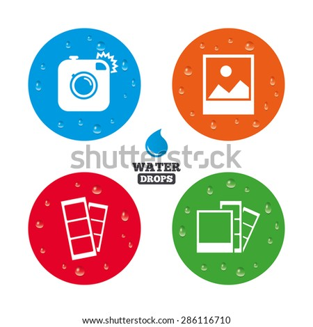 Water drops on button. Hipster photo camera icon. Flash light symbol. Photo booth strips sign. Landscape photo frame. Realistic pure raindrops on circles. Vector - stock vector