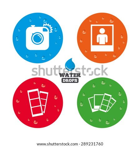 Water drops on button. Hipster photo camera icon. Flash light symbol. Photo booth strips sign. Human portrait photo frame. Realistic pure raindrops on circles. Vector - stock vector
