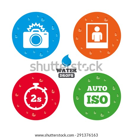 Water Drops On Button Photo Camera Stock Vector 291376163 Shutterstock