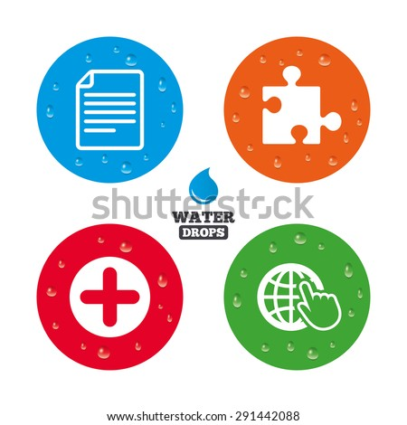 Water drops on button. Plus add circle and puzzle piece icons. Document file and globe with hand pointer sign symbols. Realistic pure raindrops on circles. Vector - stock vector