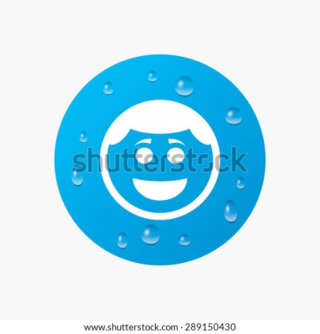 Water drops on button. Smile face sign icon. Happy smiley with hairstyle chat symbol. Realistic pure raindrops. Blue circle. Vector - stock vector
