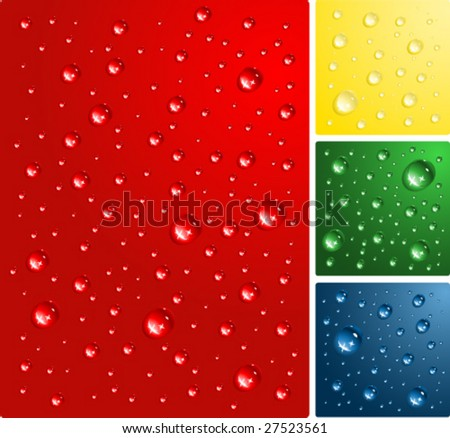 water drops on color bacground vector illustration - stock vector