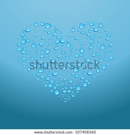 Water drops on red heart on a blue background.Vector - stock vector