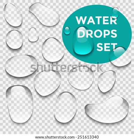 Water drops realistic set  - stock vector