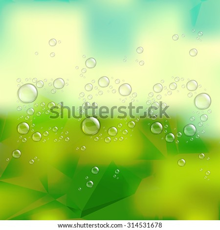 Water drops shaped the word ECO on green blurred background. - stock vector