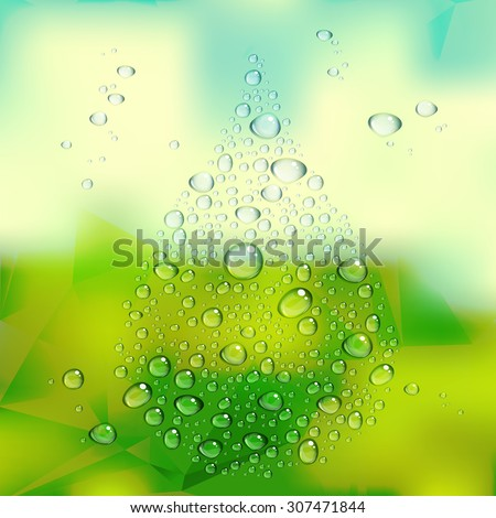 Water drops vector on green blurred background - stock vector