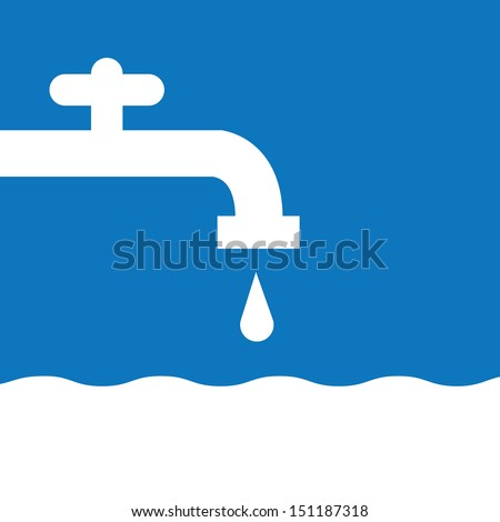 Water faucet silhouette against blue background  - stock vector