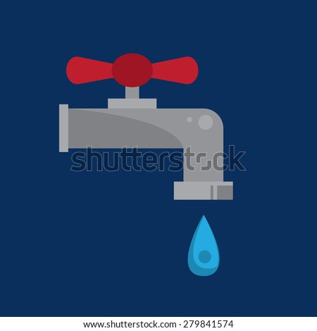 Water faucet with large droplet of water  - stock vector