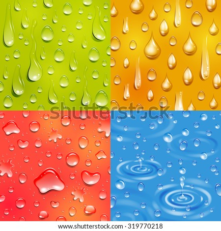 Water following and falling drop round and elongate shape color square banner set isolated vector illustration - stock vector
