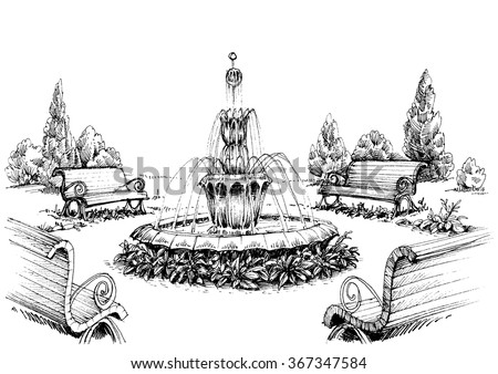 Water fountain in the park - stock vector