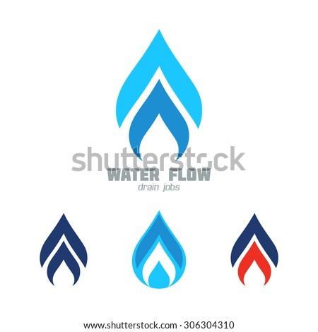 Water & Gas supply service business icon vector set. Plumbing service symbol set. Graphics for water or gas flow, water drops, hot & cold water, flames, speed. Sample text. Editable, layered vector - stock vector