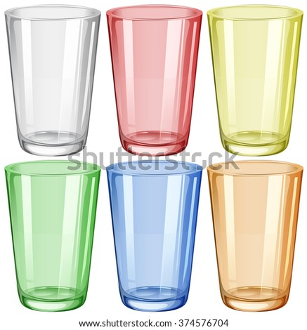 Water glass in six different colors illustration - stock vector