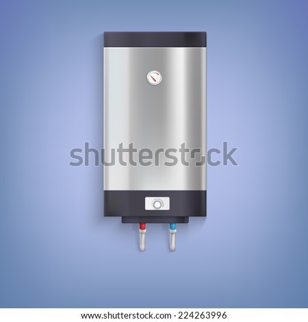 Water heater. Hot-water tank, chrome plated with a regulator and thermometer
