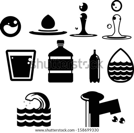 water icon collection created in vector format - stock vector