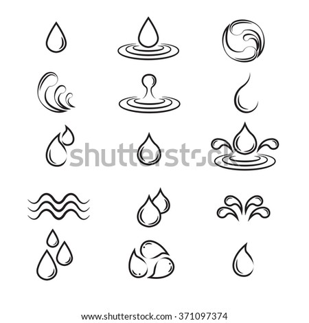water icons, Set of abstract water icons - stock vector