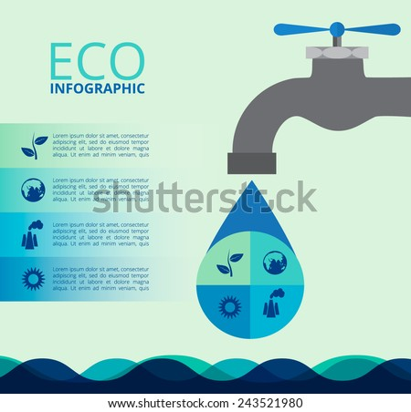 Water infographics. Information Graphics. - stock vector