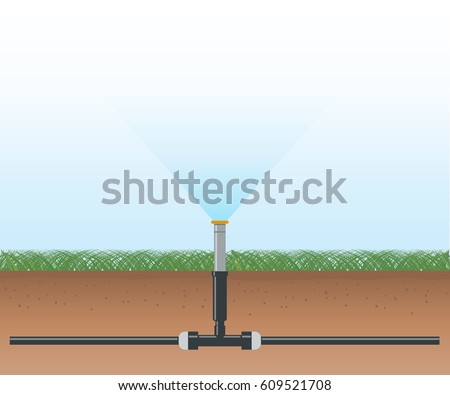 Water irrigation. Automatic sprinklers system. Vector illustration flat design.