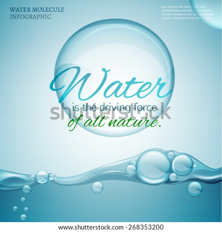Water is the driving force of all nature. The illustration of bio infographics with water molecule in transparent style. Save World waters! Natural concept with typographiv quotation. Vector image. - stock vector