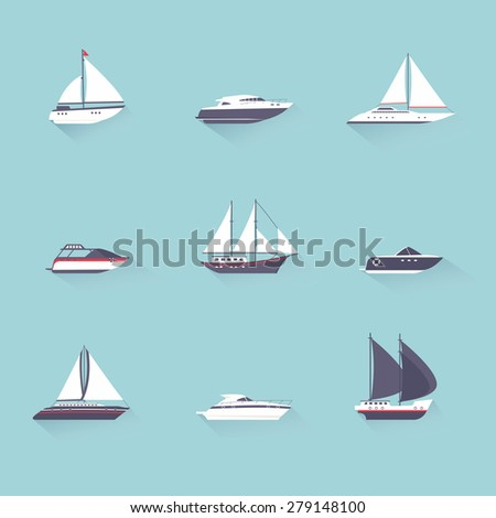Water jet speed motor boats and yacht navigation sport template flat shadow pictograms set vector isolated illustration - stock vector