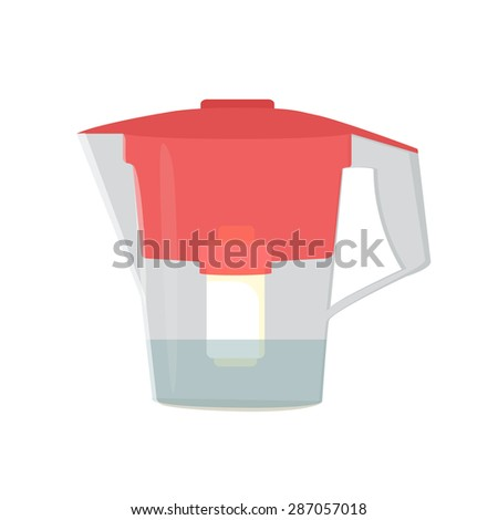 Water jug with a filter - stock vector