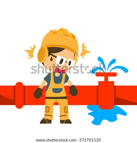 Water leaking with Construction worker, safety first, health and safety warning signs, vector illustrator - stock vector