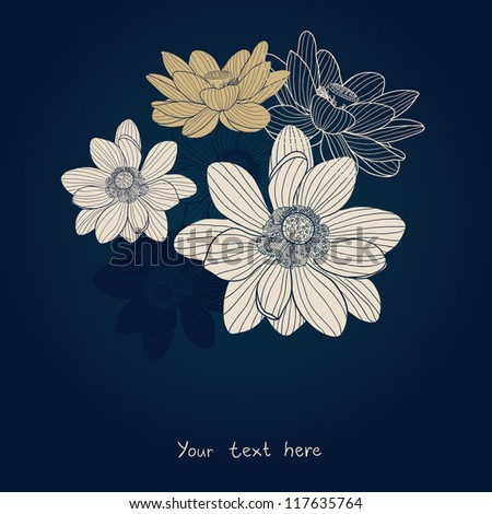 water lilies beautiful seamless pattern - stock vector