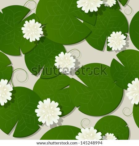 Water lilies design, seamless pattern vector - stock vector