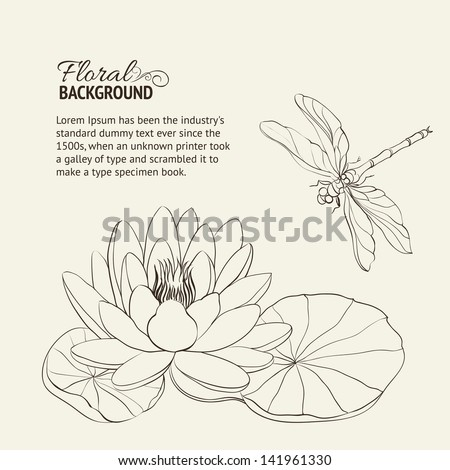 Water Lily and dragonfly sepia. Vector illustration. - stock vector
