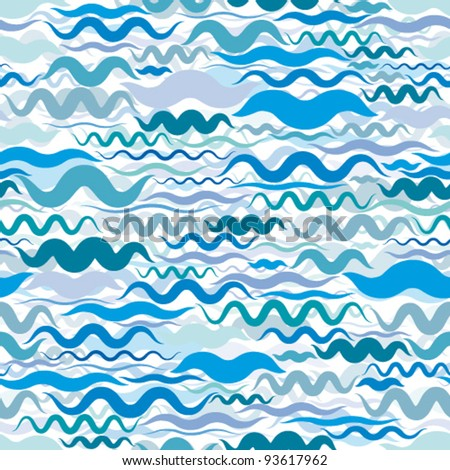 Water marine light blue background graphic stylized waves seamless pattern. - stock vector