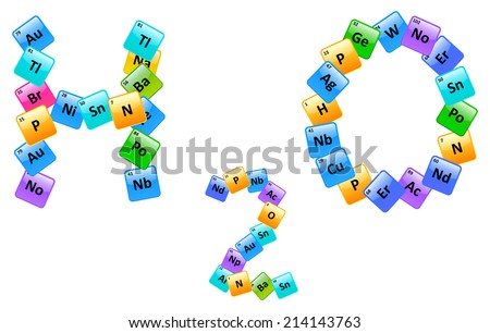 Water molecule made elements periodic table stock vector 214143763 water molecule made of elements from the periodic table urtaz Choice Image