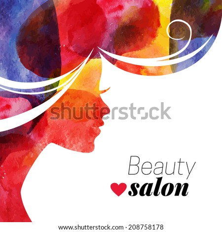 Water?olor beautiful girl. Vector illustration of woman beauty salon - stock vector
