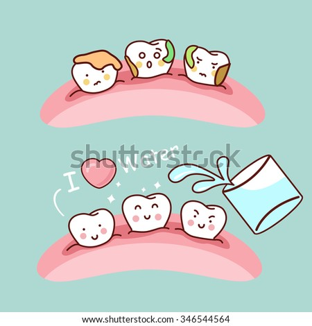 Water or gargle with cute cartoon tooth, great for health dental care concept - stock vector