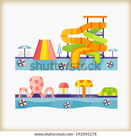 water park - stock vector