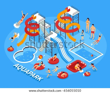 Water park and swimming with people and recreation symbols isometric vector illustration