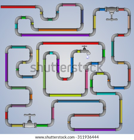 water pipes and bongs - stock vector