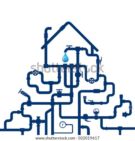 Water pipes and house for vector design
