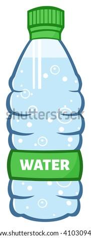 Water Plastic Bottle Cartoon Illustration. Vector Illustration Isolated On White - stock vector