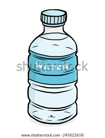 water plastic bottle / cartoon vector and illustration, hand drawn style, isolated on white background. - stock vector