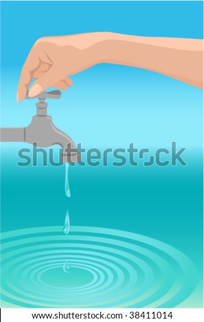 Water protection. Hand cut off the water. - stock vector
