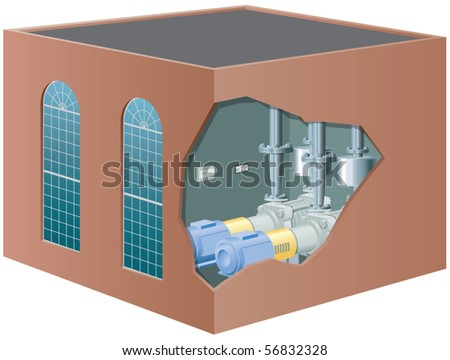 Water pump house vector illustration - stock vector