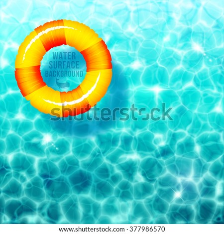 Water ripple background, with rubber ring on water surface eps 10 - stock vector