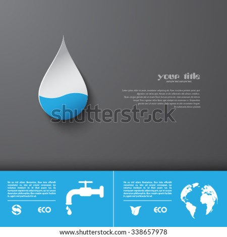 Water saving brochure design - stock vector