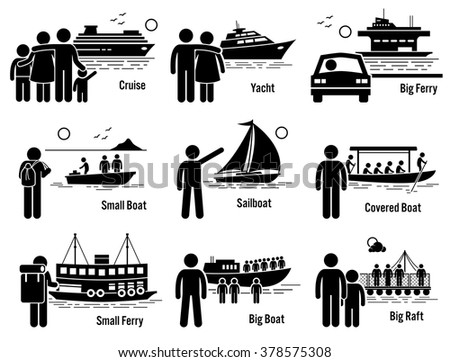 Water Sea Transportation Vehicles and People Set