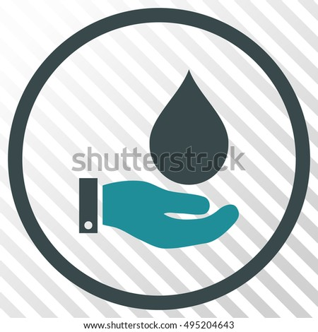Water Service vector icon. Image style is a flat soft blue pictogram symbol on a hatch diagonal transparent background.