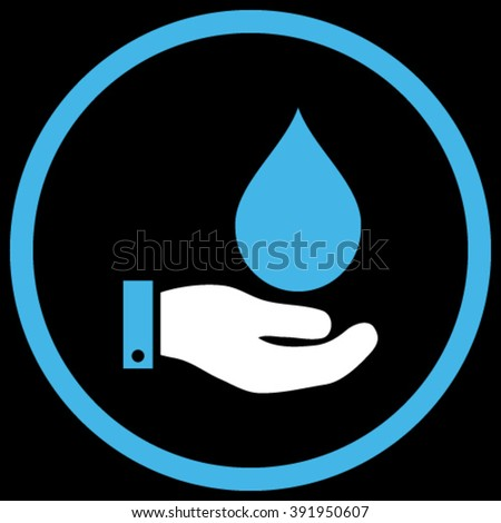 Water Service vector icon. Style is bicolor flat rounded iconic symbol, water service icon is drawn with blue and white colors on a black background.